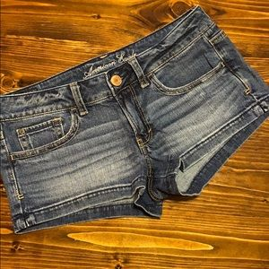 American Eagle medium wash denim shorties
